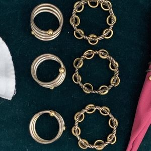 Dining - Set of 8 Unique Vintage Metal Napkin Rings